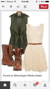 jacket,army green,zip,vest,coat,dress,white dress,green vest,white lace dress