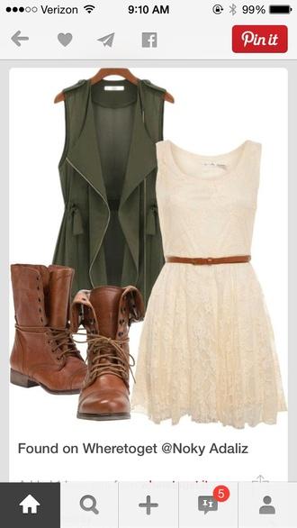 jacket army green zip vest coat dress white dress green vest white lace dress