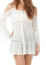 Bell sleeve gauze button down cold shoulder tunic dress