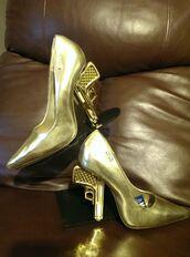 shoes,gold heel,gun heels,medium heels