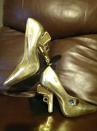 shoes gold heel gun heels medium heels
