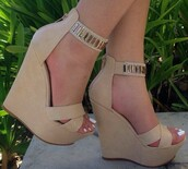 shoes,wedges tan,wedges,tan,cute,summer,heels,casual,wedge sandals,nude sandals