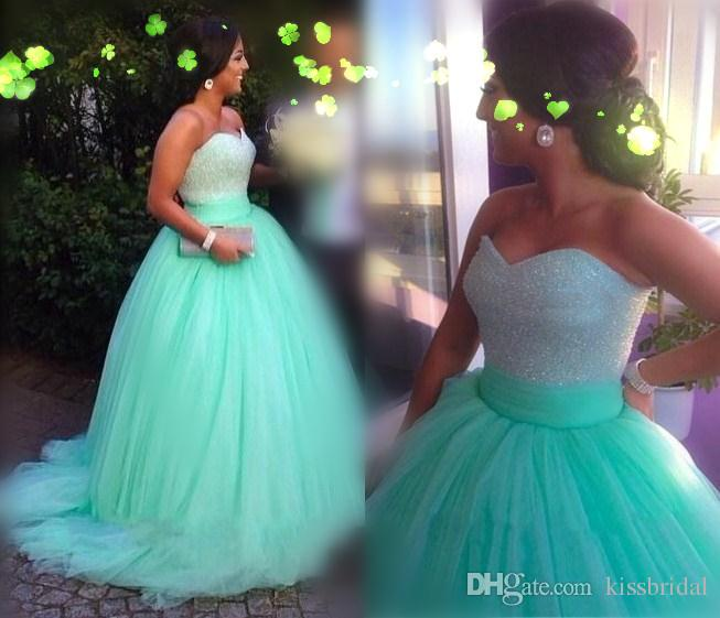 Shimmering Mint Green Ball Gown Prom Dresses with Rhinestone ...