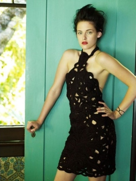 crochet mini celebrity kristen stewart black dress dress