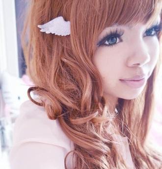 hair accessory angel wings kawaii accessory pink cute instagram kawaii hair bow hair/makeup inspo hair adornments angel kawaii grunge babe