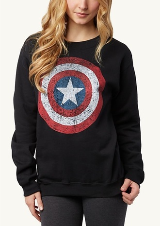 sweater captain america black hoodie