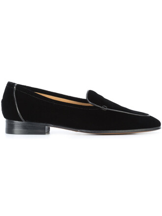 women classic loafers leather black velvet shoes