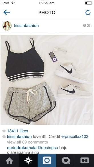 shoes shorts top fashion rosheruns nike white calvin klein sports bra calvin klein bra style rosheruns nike nike running shoes crop tops hat