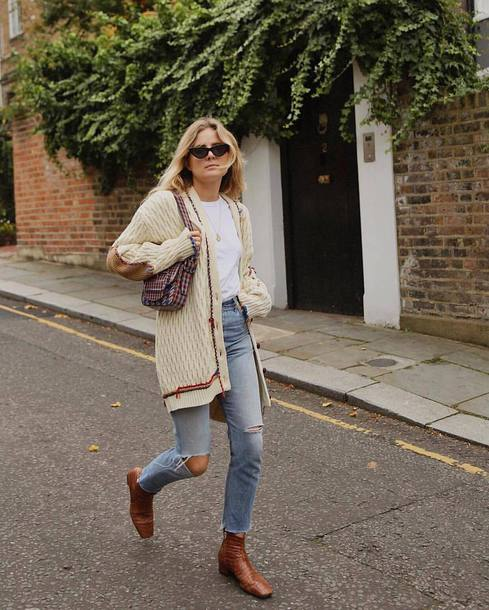 cardigan tumblr white cardigan sunglasses cat eye denim jeans blue jeans boots brown boots