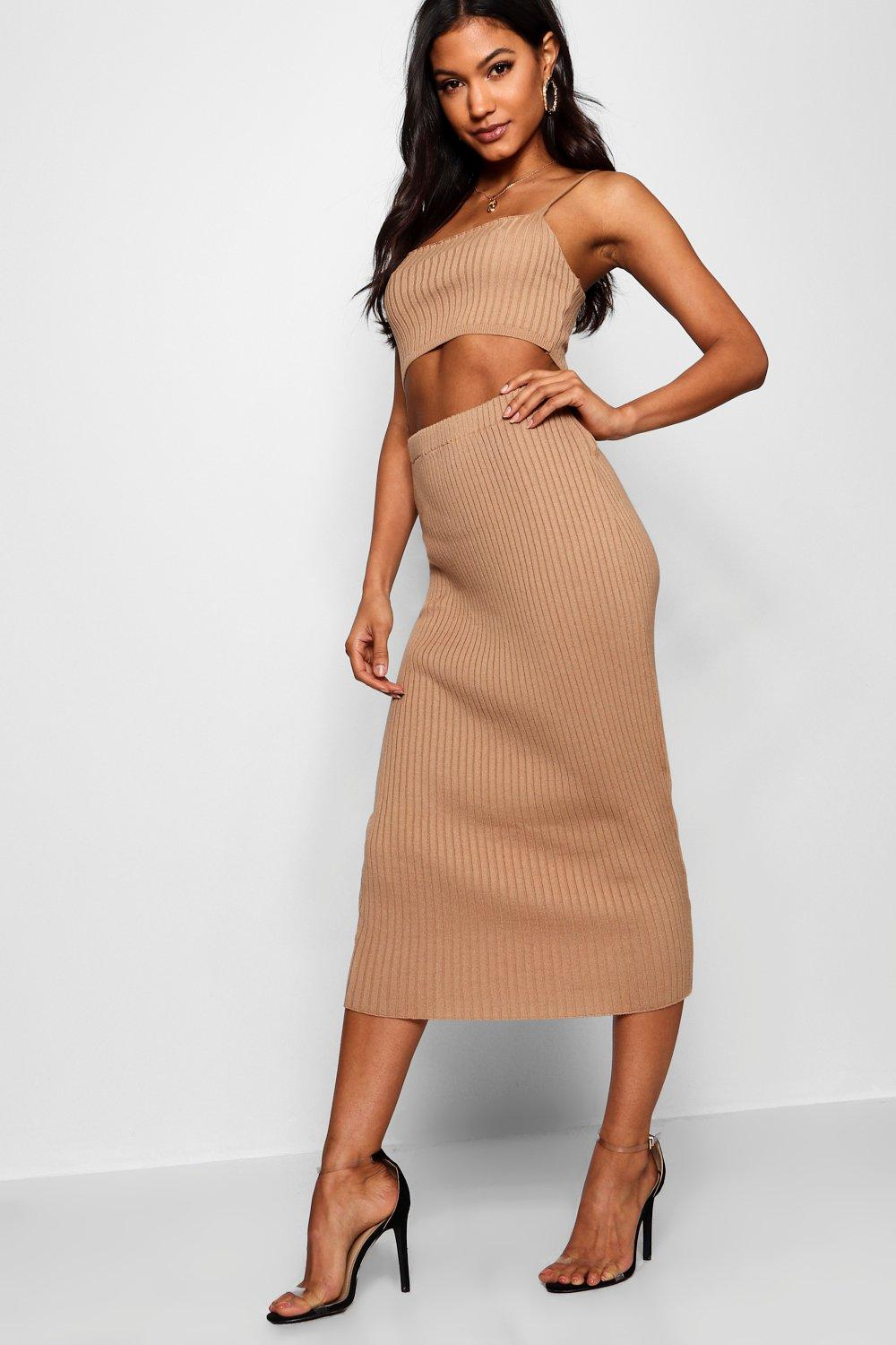 Rib Knit Midi Skirt Co-ord | Boohoo