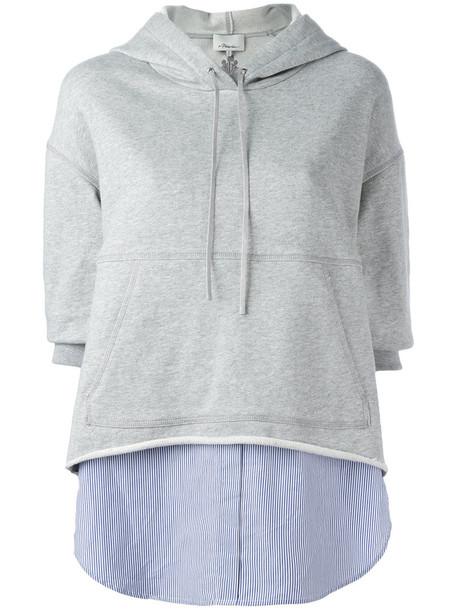 3.1 Phillip Lim hoodie women layered cotton grey sweater