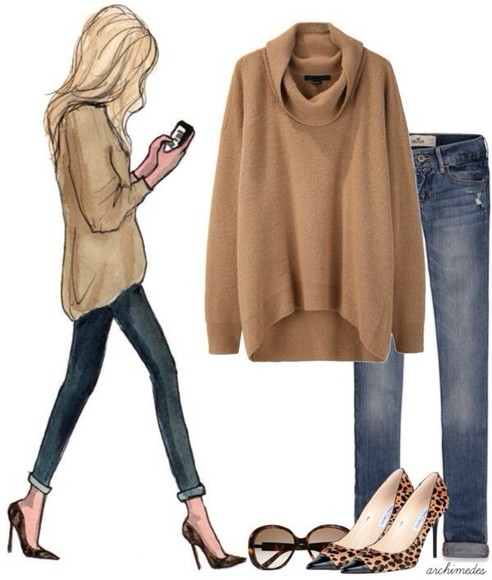 beige sweater blouse