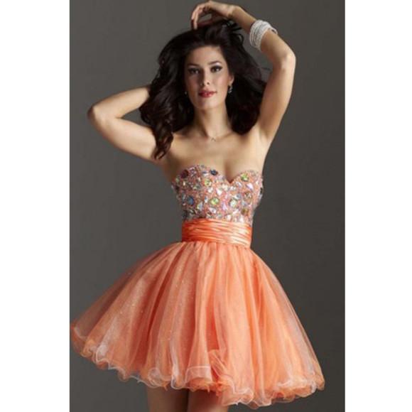 orange a line short dress cocktail party dresses party dress