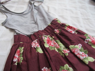 blouse grey top skirt floral floral skirt grey top tank top romper flowers red dress beautiful