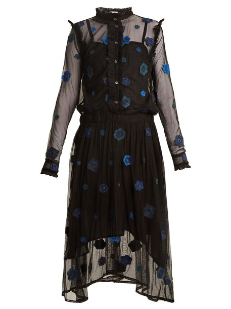 QUEENE AND BELLE dress tulle dress embroidered blue black