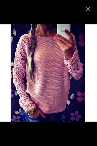 sweater pink sweater flowered