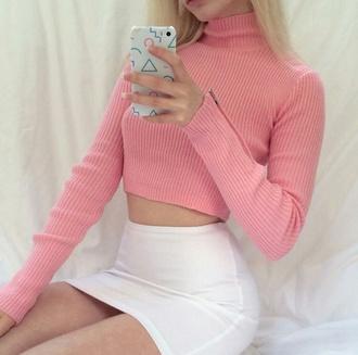 top pink white crop tops cute pastel soft grunge grunge turtleneck long sleeves