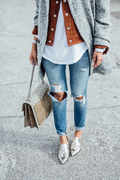 shoes pointed toe brown suede jacket gray coat white blouse streetstyle outfit gold shoes gucci bag ripped jeans