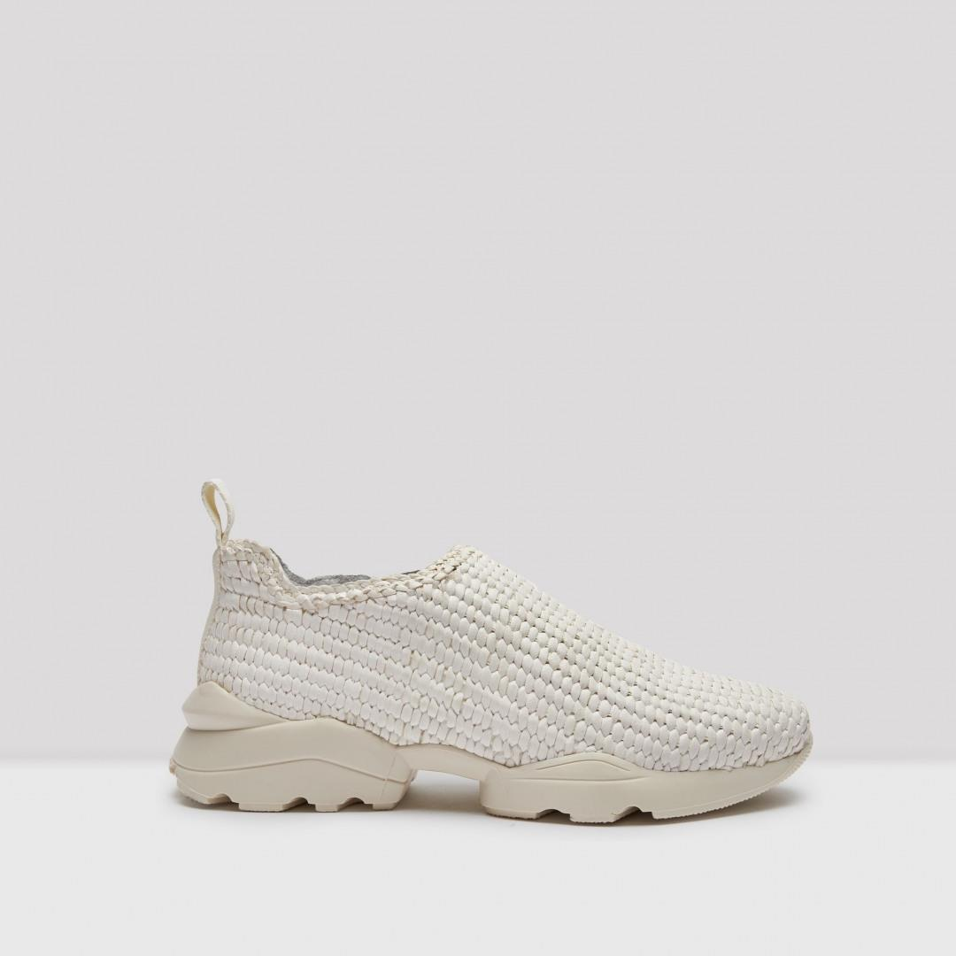 Driska Off White Woven Leather Sneakers
