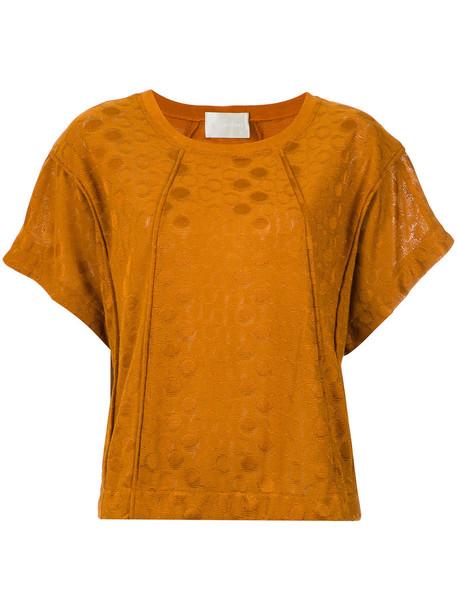 Lilly Sarti blouse women spandex yellow pattern orange top