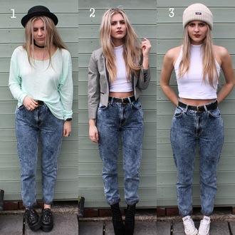 jeans denim mom jeans acid wash trendy