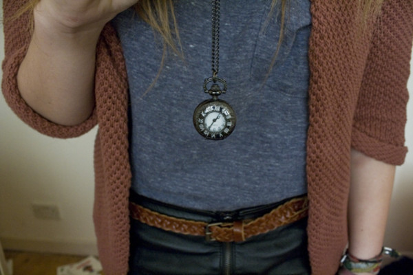 clock necklace jewels