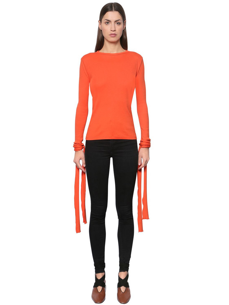 J.W.ANDERSON Ribbed Cotton Jersey Top W/ Tie Cuffs in red