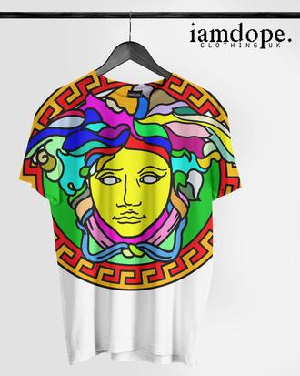 t-shirt versace versace allover colorful dope swag saint laurent
