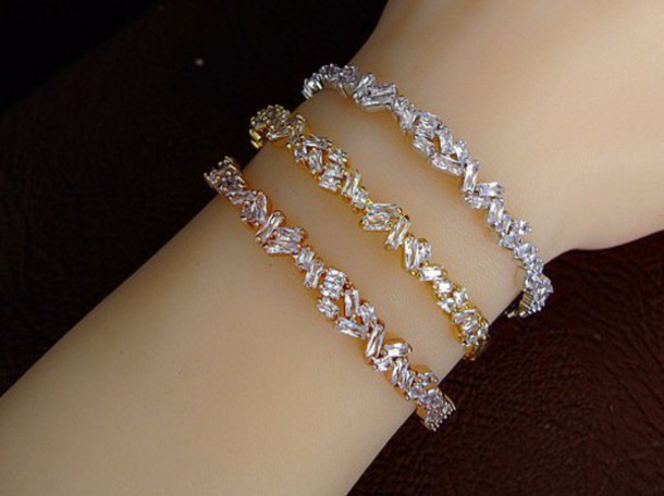 bracelets off flash two diamond gold bracelet tone new baguette sparkling your