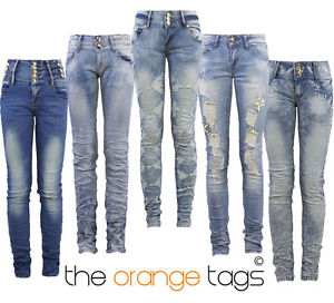 NEW LADIES SKINNY SLIM FIT STRETCHY MID/HIGH WAISTED JEANS WOMENS TROUSERS   eBay