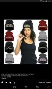 hat,red,grey,black,white,kidrauhl,justin bieber,beanie,belieber