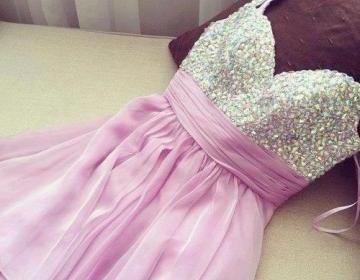 Sweet purple mini chiffon prom dres..