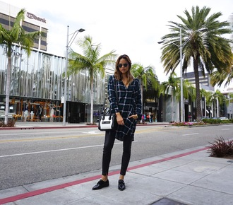 croptopia blogger leggings shoes sunglasses bag leather pants leather leggings black flats plaid long sleeves button up aviator sunglasses celine bag celine black and white shirt dress flats
