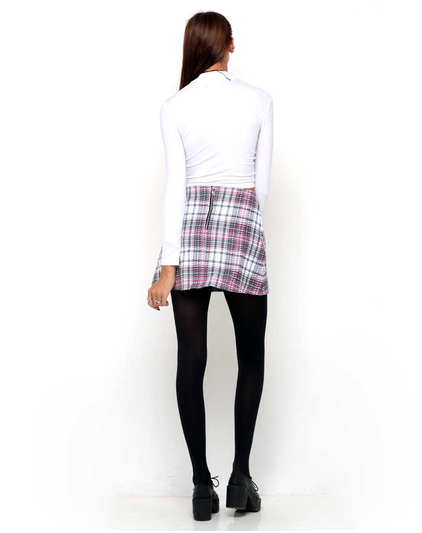 Buy Motel Annie A Line Mini Skirt in Pink Tartan at Motel Rocks