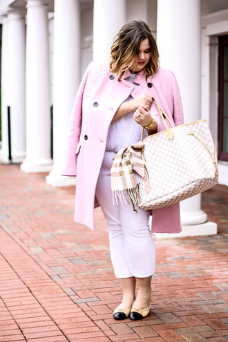 stylishsassy&classy blogger coat top jeans shoes bag scarf louis vuitton bag tote bag pink coat ballet flats plus size jeans plus size