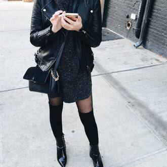 dress tumblr knee high socks socks over the knee tights boots pointed boots ankle boots high heels boots black boots sweater dress grey dress leather jacket black leather jacket black jacket jacket bag black bag