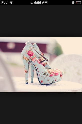 shoes floral high heels