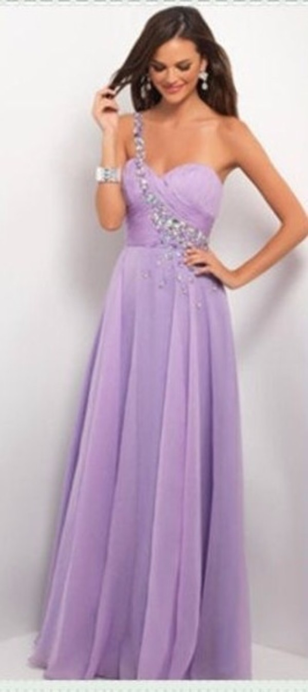 lilac jeweled one shoulder long prom dresses 2014 long