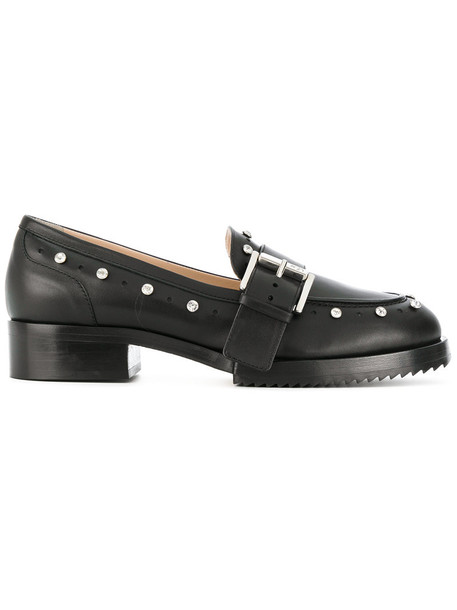studded women loafers leather black shoes