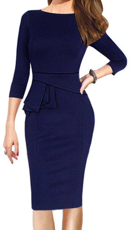 CANDOIT Women's Seven Quarter Sleeve O Neck Bodycon Pencil Dress | Amazon.com