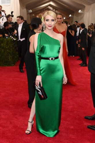 dress green emma roberts slit dress one shoulder met gala red carpet metgala2015