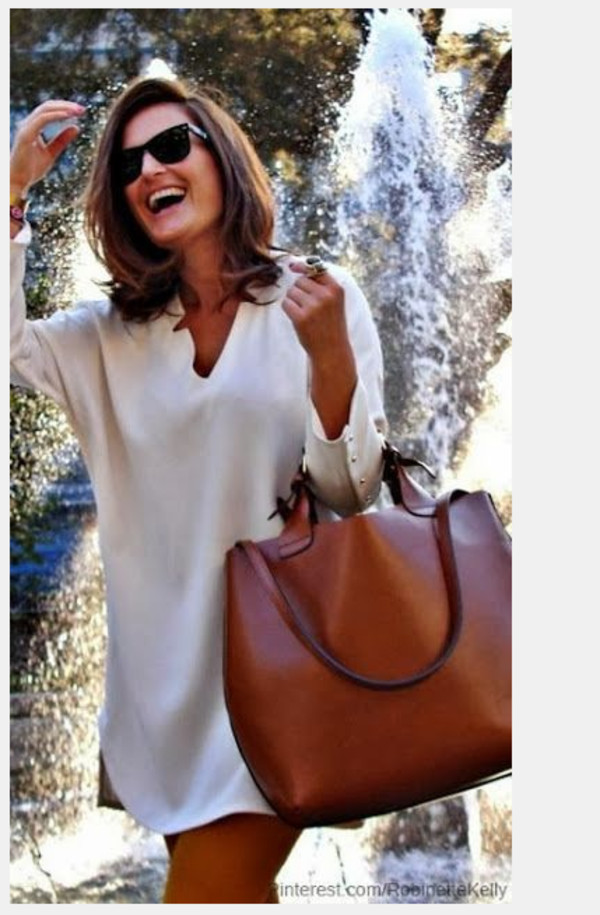 bag leather whiskey brown cognac tote bag dress beige smooth tunic dress tunic top shirt white dress white petite shirt dress loose dress short dress tan bag earthy dress casual dress