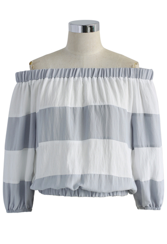 top stripes cozy off the shoulder