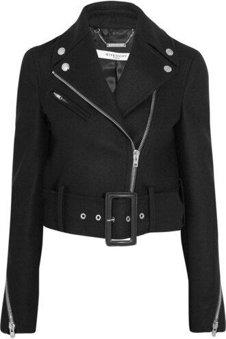 jacket biker jacket cropped black wool