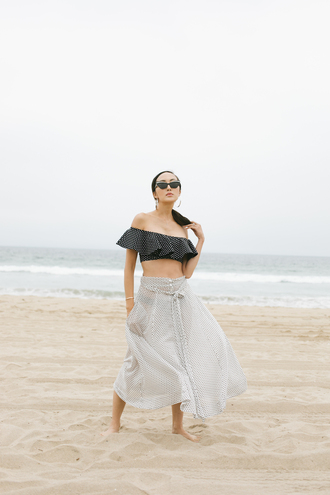 the chriselle factor blogger pants sunglasses bag skirt tumblr maxi skirt white skirt polka dots top off the shoulder off the shoulder top crop tops