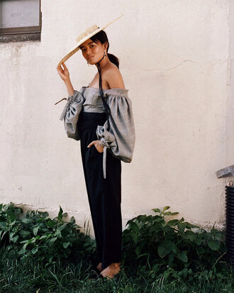 hat tumblr sun hat jacquemus top off the shoulder off the shoulder top puffed sleeves pants black pants