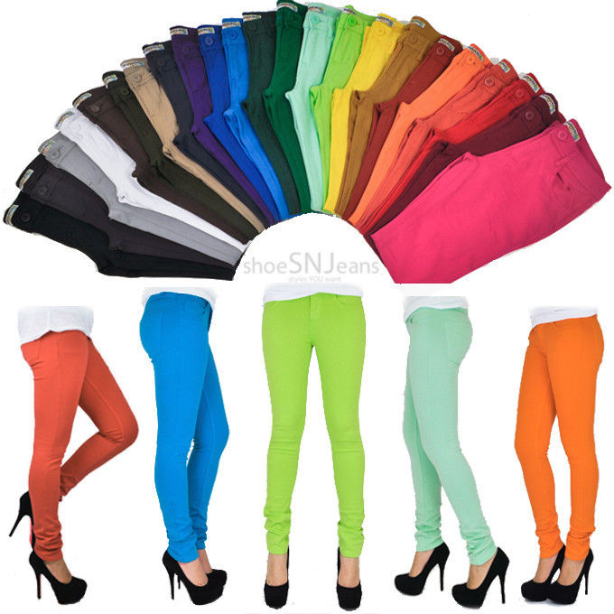 Women Skinny Colorful Jeggings Stretchy Sexy Pants Soft Leggings Pencil Tights | eBay