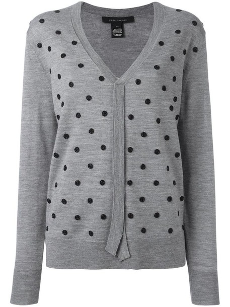 Marc Jacobs sweater embroidered women wool grey