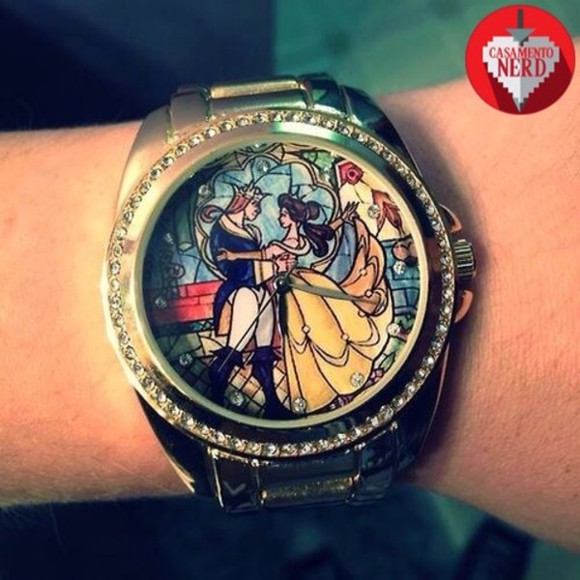 jewels clock wristband disney beauty and the beast silver glitter rare disney princess disney villain watch, belle, beauty, beauty and the beast, disney