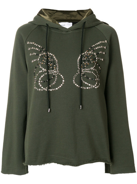 Isabelle Blanche hoodie women fit cotton green sweater